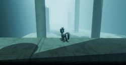 Size: 1024x527   Tagged: safe, artist:singularmj, oc, oc:horizon, pony, unicorn, game:ergosphere, fog, ruins