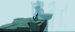 Size: 1024x437   Tagged: safe, artist:singularmj, oc, oc:horizon, pony, unicorn, game:ergosphere, fog, ruins