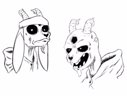 Size: 3341x2515   Tagged: safe, artist:alpaca_arts, shanty (tfh), demon, goat, them's fightin' herds, clothes, community related, creepy, demonification, female, missing teeth, monochrome, open mouth, robe, shrunken pupils, simple background, weapon, white background