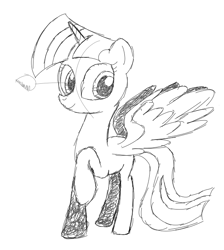 Size: 569x636 | Tagged: safe, artist:scootaloormayfly, twilight sparkle, alicorn, pony, colorless, pencil drawing, pencil shading, simple background, sketch, solo, traditional art, twilight sparkle (alicorn), unfinished art, white background