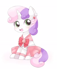 Size: 1647x2045   Tagged: safe, artist:ginmaruxx, sweetie belle, pony, unicorn, blushing, clothes, cute, diasweetes, dress, female, filly, heart, simple background, sitting, solo, white background