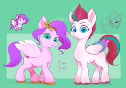 Size: 2820x1970   Tagged: safe, artist:noupu, pipp petals, zipp storm, pegasus, pony, g5, duo, female, mare, siblings, sisters