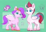Size: 2820x1970 | Tagged: safe, artist:noupu, pipp petals, zipp storm, pegasus, pony, g5, my little pony: a new generation, duo, duo female, female, high res, mare, one eye closed, pipp is short, siblings, sisters, wing gesture, wings, wink