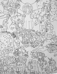 Size: 1067x1395   Tagged: safe, artist:gojira1604shinomura, apple bloom, big macintosh, coloratura, derpy hooves, diamond tiara, discord, double diamond, gilda, king sombra, limestone pie, moondancer, nightmare moon, party favor, pinkie pie, princess cadance, princess luna, rainbow dash, rarity, sassy saddles, scootaloo, smooze, starlight glimmer, sweetie belle, tank, tantabus, tree hugger, twilight sparkle, alicorn, earth pony, pegasus, pony, twittermite, unicorn, zebra, season 5, cutie mark crusaders, rara, traditional art