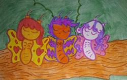 Size: 1280x815   Tagged: safe, artist:dex stewart, apple bloom, scootaloo, sweetie belle, butterfly, cutie mark crusaders, sleeping, species swap, traditional art
