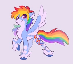 Size: 883x768   Tagged: safe, artist:p3stie, rainbow dash, pegasus, pony, alternate cutie mark, alternate design, chest fluff, coat markings, colored hooves, colored wings, pale belly, raised hoof, smiling, solo, spread wings, unshorn fetlocks, wings