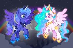 Size: 2048x1348   Tagged: safe, artist:alexbeeza, princess celestia, princess luna, alicorn, pony, flying, rainbow, smiling, spread wings, wings