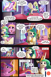 Size: 3541x5331   Tagged: safe, artist:angusdra, artist:lummh, princess cadance, princess celestia, prismia, alicorn, pony, comic:the princess of love, absurd resolution, castle, comic, female, guard, magic, male, mare, multiple characters, open mouth, open smile, proud, room, smiling, stallion, worried, young cadance
