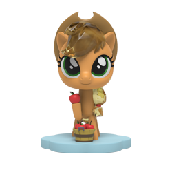 Size: 1000x1000   Tagged: safe, part of a set, applejack, earth pony, pony, apple, figurine, food, kwistal fwenz, merchandise, mighty jaxx, simple background, solo, transparent background