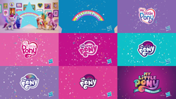 Size: 5760x3240   Tagged: safe, composite screencap, edit, edited screencap, screencap, fluttershy, hitch trailblazer, izzy moonbow, megan williams, pinkie pie, pipp petals, rainbow dash, rarity, sunny starscout, twilight sparkle, zipp storm, bushwoolie, earth pony, human, pegasus, pony, unicorn, friendship is magic, g1, g3, g4, g5, my little pony: a new generation, abstract background, advertisement, hasbro logo, irl, irl human, mane five (g5), my little pony logo, my little pony: a new generation logo, photo, pony history, rainbow, sparkle, stars, text, unicorn twilight
