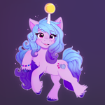 Size: 3100x3100 | Tagged: safe, artist:purplekitten203, izzy moonbow, pony, unicorn, g5, my little pony: a new generation, ball, bracelet, chest fluff, female, hoof fluff, izzy's tennis ball, jewelry, open mouth, solo, tennis ball