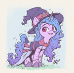 Size: 1200x1180 | Tagged: safe, artist:assasinmonkey, izzy moonbow, pony, unicorn, g5, my little pony: a new generation, bracelet, clothes, costume, cute, grin, halloween, halloween costume, hat, holiday, izzybetes, jewelry, looking at you, pumpkin, smiling, solo, witch, witch costume, witch hat