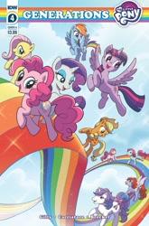Size: 825x1252 | Tagged: safe, artist:michela cacciatore, applejack, fluttershy, glory, lickety split, minty (g1), morning glory, pinkie pie, rainbow dash, rarity, twilight sparkle, alicorn, earth pony, pegasus, unicorn, g1, idw, my little pony: generations, spoiler:comic, spoiler:comicgenerations04, comic, female, mane six, rainbow, twilight sparkle (alicorn)