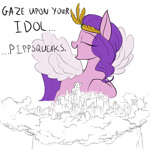 Size: 800x800   Tagged: safe, artist:rocket-lawnchair, pipp petals, pegasus, pony, g5, my little pony: a new generation, spoiler:my little pony: a new generation, dialogue, eyes closed, female, giantess, macro, smiling, solo, spread wings, wings