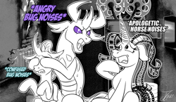 Size: 1250x725 | Tagged: safe, artist:jamescorck, ocellus, pharynx, oc, oc:movie slate, changedling, changeling, pony, unicorn, descriptive noise, horse noises, prince pharynx