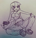 Size: 1536x1658 | Tagged: safe, artist:nairdags, sonata dusk, equestria girls, belly button, cellphone, cute, female, monochrome, phone, shoes, smartphone, sneakers, solo, sonatabetes, traditional art