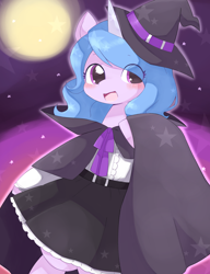 Size: 1778x2318 | Tagged: safe, artist:ginmaruxx, izzy moonbow, pony, unicorn, g5, my little pony: a new generation, bipedal, blushing, cape, clothes, costume, cute, female, halloween, halloween costume, hat, holiday, izzybetes, looking at you, mare, open mouth, open smile, skirt, smiling, smiling at you, solo, stars, witch, witch hat