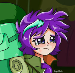 Size: 2048x1972 | Tagged: safe, artist:jinglebelle, starlight glimmer, human, the mean 6, backpack, crying, female, humanized, messy hair, sad, scene interpretation, solo, teary eyes