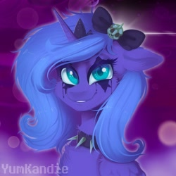 Size: 3500x3500 | Tagged: safe, artist:yumkandie, princess luna, alicorn, pony, abstract background, bow, bust, collar, female, hair bow, makeup, solo, spiked collar