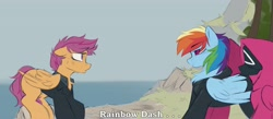 Size: 3766x1642 | Tagged: safe, artist:crimmharmony, rainbow dash, scootaloo, pegasus, pony, fanfic:rainbow factory, crossover, fanfic art, squid game