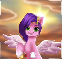 Size: 1280x1213 | Tagged: safe, artist:joaothejohn, pipp petals, pegasus, g5, cellphone, cloud, cute, looking at you, phone, selfie, sky, smiling, solo, sun, wings