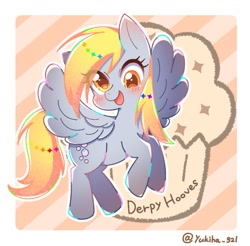 Size: 843x829 | Tagged: safe, artist:yukiha_321, derpy hooves, pegasus, pony, blushing, cute, derpabetes, female, food, mare, muffin, open mouth, open smile, smiling, solo, spread wings, wings