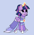 Size: 1515x1561   Tagged: safe, artist:risswm, twilight sparkle, alicorn, pony, the last problem, blue background, clothes, coronation dress, crown, cute, dress, female, jewelry, looking up, mare, ponytober, regalia, second coronation dress, simple background, smiling, solo, twiabetes, twilight sparkle (alicorn)