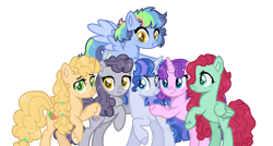Size: 1024x547   Tagged: safe, artist:yourrdazzle, oc, oc only, oc:bow, oc:buttercream crisp, oc:jasper pie, oc:posey puff, oc:rocket trail, oc:sky dreamer, earth pony, pegasus, pony, unicorn, alternate mane six, base used, bipedal, female, mare, offspring, parent:bow hothoof, parent:bright mac, parent:cloudy quartz, parent:cookie crumbles, parent:gentle breeze, parent:hondo flanks, parent:igneous rock pie, parent:night light, parent:pear butter, parent:posey shy, parent:twilight velvet, parent:windy whistles, parents:brightbutter, parents:cookieflanks, parents:nightvelvet, parents:quartzrock, parents:shys, parents:windyhoof, simple background, transparent background
