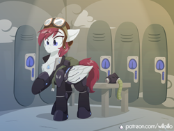Size: 1600x1200   Tagged: safe, artist:willoillo, oc, oc only, pegasus, pony, fallout equestria, commission, enclave, grand pegasus enclave, pegasus oc, solo