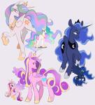 Size: 1175x1300   Tagged: safe, artist:hellscirque, princess cadance, princess celestia, princess luna, alicorn, pony, alicorn triarchy, female, glowing, glowing horn, horn, mare, simple background, trio