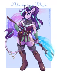 Size: 1800x2400 | Tagged: safe, artist:ambris, starlight glimmer, classical unicorn, unicorn, anthro, unguligrade anthro, adventuring is magic, cloven hooves, ear piercing, earring, female, grin, hand on hip, high res, jewelry, leonine tail, looking at you, mare, piercing, smiling, smiling at you, smirk, solo, staff, staff of sameness, unshorn fetlocks