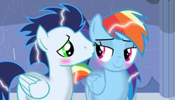 Size: 1263x720 | Tagged: safe, artist:mlplary6, rainbow dash, soarin', female, kissing, male, shipping, soarindash, straight