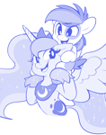 Size: 1200x1522 | Tagged: safe, artist:comfytail, pipsqueak, princess luna, alicorn, earth pony, pony, colt, cute, duo, ethereal mane, female, happy, lunabetes, male, mare, monochrome, open mouth, open smile, shoulder ride, smiling, squeakabetes