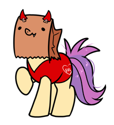 Size: 950x1040 | Tagged: safe, artist:paperbagpony, oc, oc:paper bag, clothes, costume, halloween, halloween costume, simple background, white background