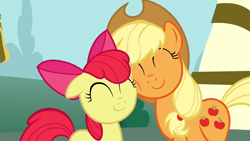 Size: 1152x648 | Tagged: safe, screencap, apple bloom, applejack, earth pony, pony, ponyville confidential, season 2, ^^, adorabloom, cute, duo, duo female, eyes closed, female, jackabetes, nuzzling, reconciliation, smiling