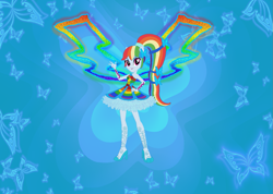Size: 1221x869 | Tagged: safe, artist:selenaede, artist:user15432, rainbow dash, fairy, human, equestria girls, alternate hairstyle, barely eqg related, base used, butterflix, clothes, colored wings, crossover, dress, fairy wings, fairyized, hand on hip, high heels, multicolored wings, ponytail, rainbow dress, rainbow wings, shoes, wings, winx, winx club, winxified