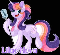Size: 1600x1466 | Tagged: safe, artist:missmele-madness, oc, oc:lilac nova, earth pony, pony, black background, female, mare, microphone, simple background, solo