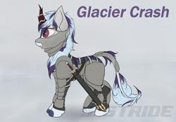 Size: 3501x2420 | Tagged: safe, artist:shade stride, oc, oc:glacier crash, kirin, armor, genderless, horn, kirin oc, simple background, solo, sword, text, watermark, weapon
