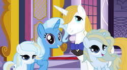 Size: 1024x564 | Tagged: safe, artist:velveagicsentryyt, prince blueblood, trixie, oc, oc:beauty mag, oc:royal rose, pony, unicorn, bluetrix, female, filly, male, offspring, parent:prince blueblood, parent:trixie, parents:bluetrix, shipping, straight