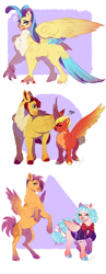Size: 1700x4400 | Tagged: safe, artist:theartfox2468, cozy glow, flash magnus, princess skystar, scootaloo, short fuse, hippogriff, pegasus, pony, my little pony: the movie, alternate hairstyle, angry, annoyed, beard, bipedal, bowtie, chest fluff, clothes, description is relevant, dress, ear piercing, earring, easter egg, facial hair, female, grin, gritted teeth, headcanon, headcanon in the description, jewelry, male, mare, markings, missing cutie mark, older, older cozy glow, older scootaloo, piercing, redesign, size difference, smiling, stallion, trans male, transgender, unshorn fetlocks, when you see it