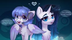 Size: 1280x716 | Tagged: safe, artist:reterica, oc, oc only, pegasus, pony, unicorn, ponified