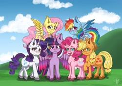 Size: 3508x2480 | Tagged: safe, artist:galaxy swirl, applejack, fluttershy, pinkie pie, rainbow dash, rarity, twilight sparkle, alicorn, earth pony, pegasus, pony, unicorn, cloud, ear fluff, mane six, sky, twilight sparkle (alicorn), unshorn fetlocks