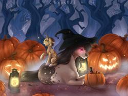 Size: 4409x3307 | Tagged: safe, artist:chrystal_company, oc, oc only, oc:elinvar, oc:inkenel, oc:oretha, pony, candy, food, giant pony, halloween, hat, holiday, jack-o-lantern, lantern, macro, micro, pumpkin, pumpkin bucket, size difference, tree, unicon, witch hat