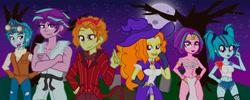 Size: 8266x3308 | Tagged: safe, artist:urhangrzerg, adagio dazzle, aria blaze, sonata dusk, equestria girls, allegro amoroso, clothes, costume, halloween, halloween costume, holiday, male, rule 63, scherzo lesto, the blindings, the dazzlings