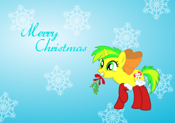 Size: 2875x2020   Tagged: safe, artist:kaitykat117, oc, oc:flower love, base used, christmas, clothes, holiday, mistletoe, socks, vector