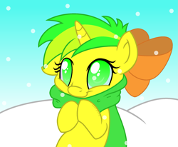 Size: 1949x1604   Tagged: safe, artist:kaitykat117, oc, oc:flower love, base used, clothes, cute, female, filly, scarf, solo, vector, winter