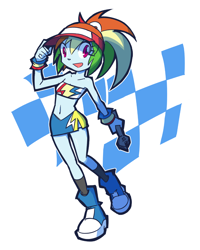 Size: 1120x1400   Tagged: safe, artist:rvceric, rainbow dash, equestria girls, belly button, cap, female, hat, racing, solo