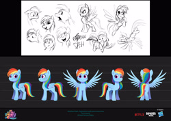 Size: 3840x2715 | Tagged: safe, artist:imalou, rainbow dash, pegasus, pony, g5, my little pony: a new generation, spoiler:g5, spoiler:my little pony: a new generation, concept art, female, floppy ears, flying, folded wings, front view, full body, gritted teeth, hasbro logo, high res, mare, multicolored hair, multicolored mane, my little pony: a new generation logo, netflix logo, open mouth, open smile, rainbow hair, rainbow tail, rear view, side view, smiling, spread wings, standing, tail, three quarter view, wings
