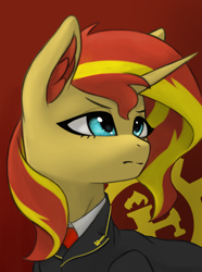 Size: 3120x4200 | Tagged: safe, artist:闪电_lightning, sunset shimmer, pony, unicorn, equestria at war mod, bust, clothes, female, mare, necktie, solo