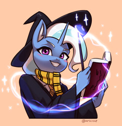 Size: 3000x3088 | Tagged: safe, artist:mrscroup, trixie, unicorn, anthro, blushing, book, clothes, ear fluff, gritted teeth, harry potter, hat, magic, necktie, scarf, wand, witch hat